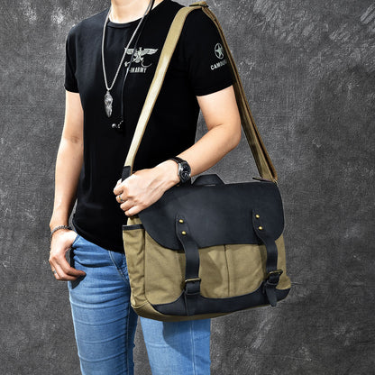 Crazy Horse Leather With Canvas Messenger Bag Vintage Men Shoulder Bag Satchel Bag ESS2282 - ROCKCOWLEATHERSTUDIO