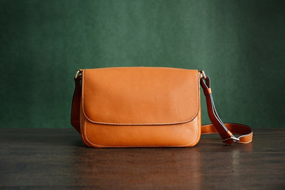 Custom Handmade Vegetable Tanned Italian Leather Messenger Crossbody Shoulder Bag Satchel Bag D042 - ROCKCOWLEATHERSTUDIO