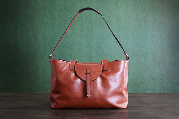 Custom Handmade Vegetable Tanned Italian Leather Shoulder Bag Women Handbag Tote Bag D047 - ROCKCOWLEATHERSTUDIO