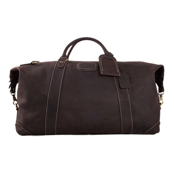 Handmade Full Grain Leather Duffle Bag, Mens Weekend Bag - ROCKCOWLEATHERSTUDIO