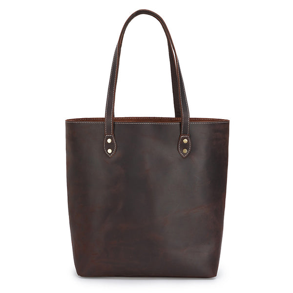 Full Grain Crazy Horse Leather Shoulder Bag Vintage Simple Style Handbag Big Capacity Women Everyday Tote MC6119ZP