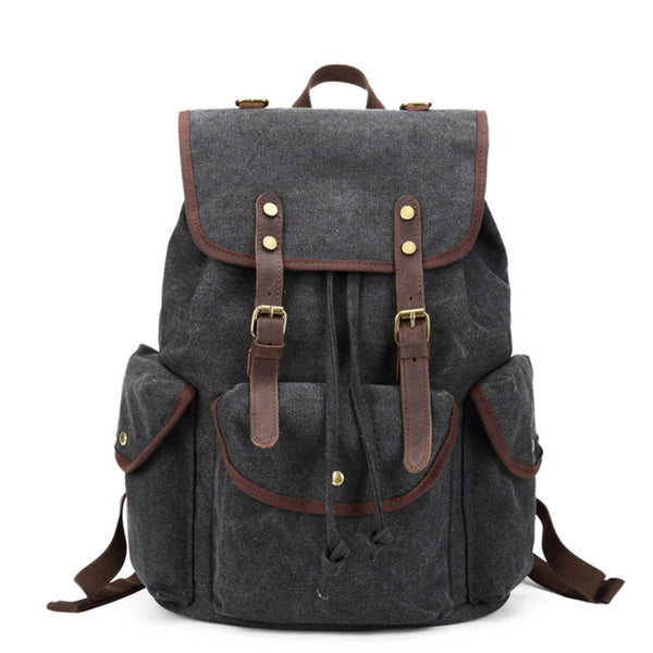 8531fbc413 ... Canvas with Leather Trim School Backpack, Gym Bag, Travel Backpack FB06  - ROCKCOWLEATHERSTUDIO ...