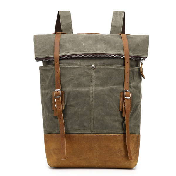 Canvas With Leather Casual Backpack, Waterproof School Bag, Travel Backpack FX1005-1 - ROCKCOWLEATHERSTUDIO