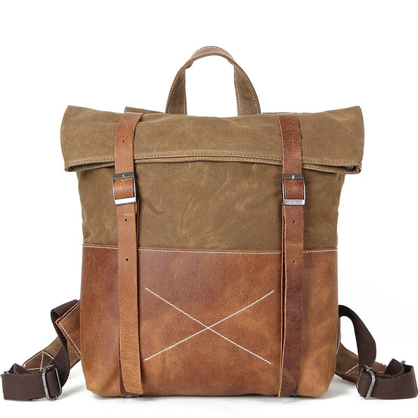 Waxed Canvas Vintage Backpack, handmade Rucksack, Hiking Bag FX1008 - ROCKCOWLEATHERSTUDIO