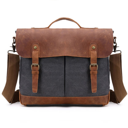 Canvas With Leather Briefcase, Handmade Casual Shoulder Bag, Messenger Bag FX396-6 - ROCKCOWLEATHERSTUDIO