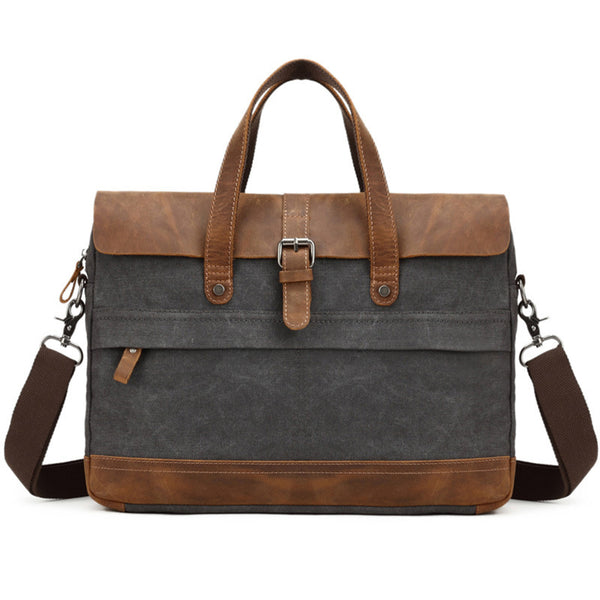 Waxed Canvas With Leather Trim Briefcase, Formal Messenger Bag, Office Bag FX886 - ROCKCOWLEATHERSTUDIO