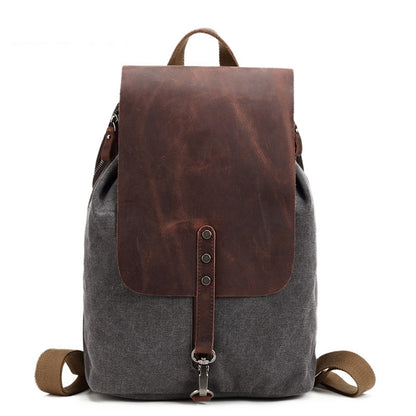 Canvas and Leather Backpack, Casual College Backpack, Vintage Travel Bag FX887 - ROCKCOWLEATHERSTUDIO