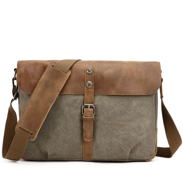 a892feb683 ... Canvas With Leather Messenger bag