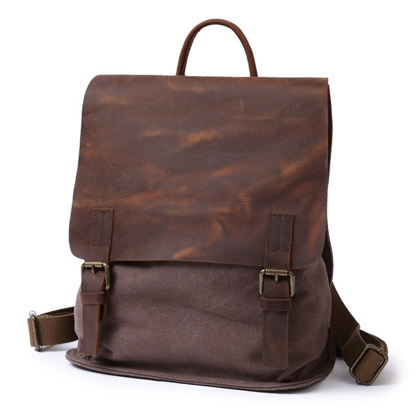 ... Waxed Canvas With Leather Trim Backpack, Vintage School Bag, Book Bag  FX901 ... 7357d6b51d