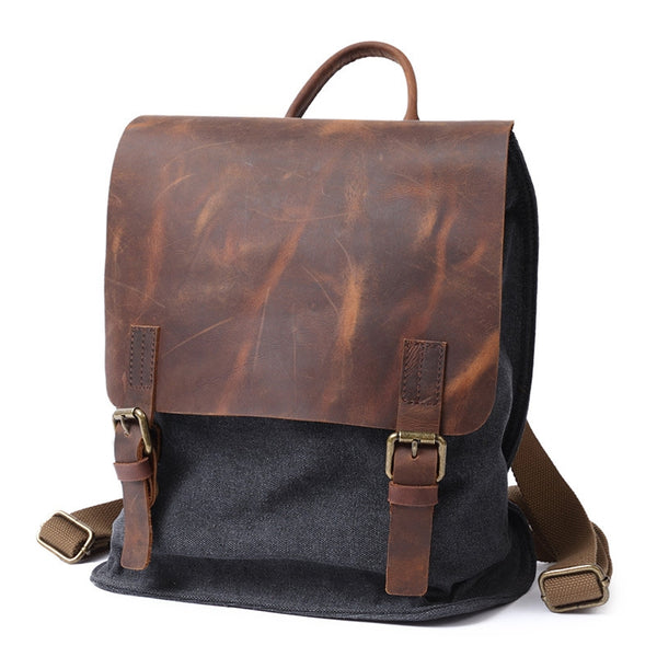 Waxed Canvas With Leather Trim Backpack, Vintage School Bag, Book Bag FX901 - ROCKCOWLEATHERSTUDIO