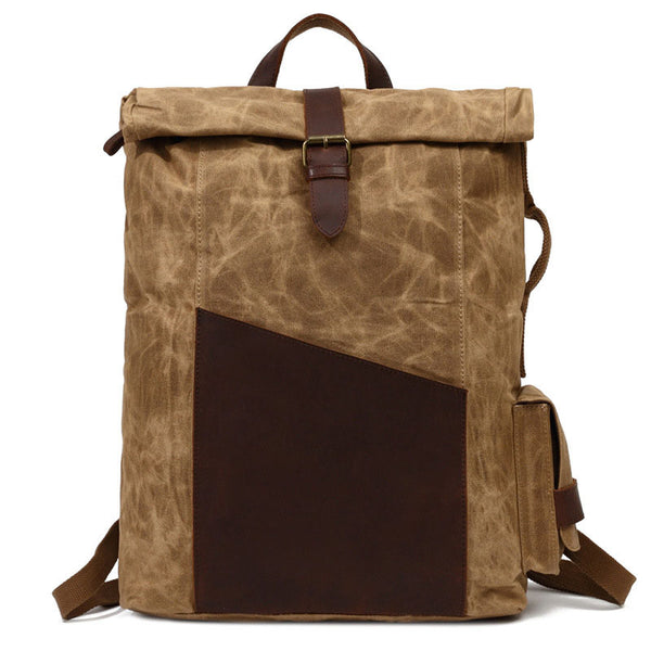 Waxed Canvas Wtih Leather Trim Backpack, School Book Bag, Hiking Bag FX902