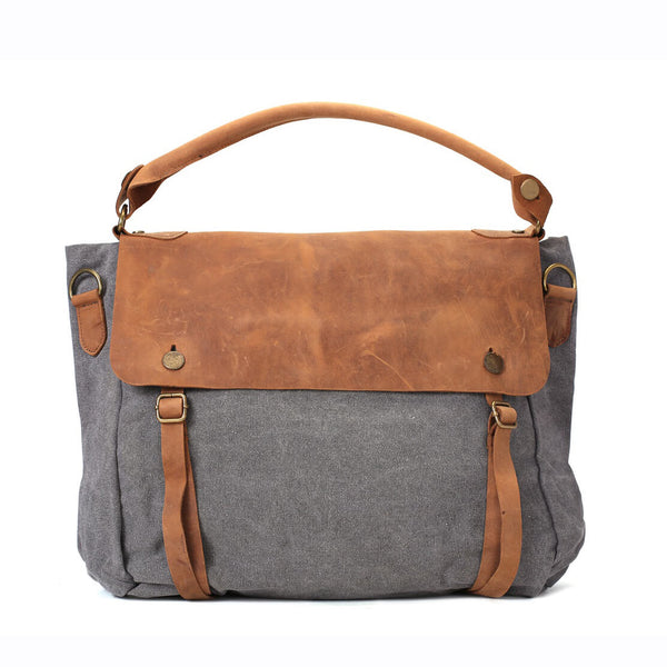 Fashion Canvas Leather Shopping Bag, Messenger Bag, Briefcase 33683 - ROCKCOWLEATHERSTUDIO