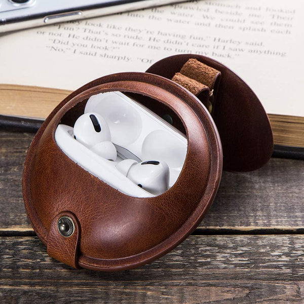 Flash Sale AirPods Pro Leather Case Full Grain Leather Portable Protective Case Cover Shockproof Case Ear-07Brown