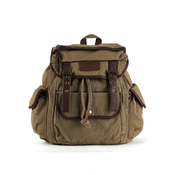 Flash Sale Canvas With Leather Travel Backpack Canvas School Backpack Laptop Backpack Travel Rucksack 3154