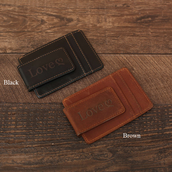 Flash Sale Full Grain Leather Money Clip Handmade Leather Wallet Mens Leather Card Holder Wallet MC01