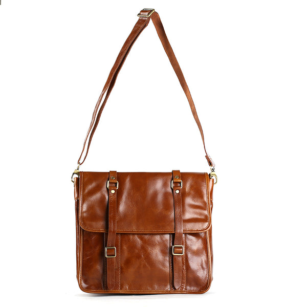Flash Sale Men's Full Grain Leather Shoulder Bag Mens Natural Cowhide Leather Satchel Gifts For Men C007
