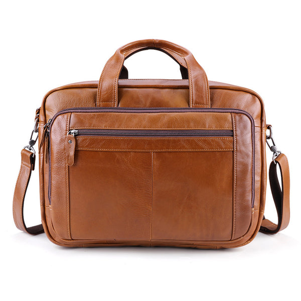 Full Grain Leather Briefcase 17 Inch Laptop Bags  Leather Messenger Bags Natural Leather Shoulder Bag J6476