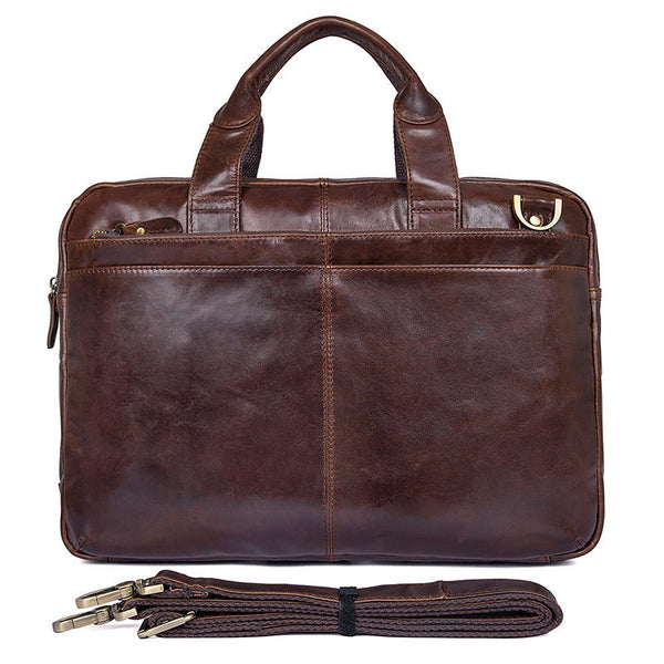 Full Grain Leather Briefcase For Men Leather Business Tote Bag Mens Natural Leather Shoulder Messenger Bag JMD7092