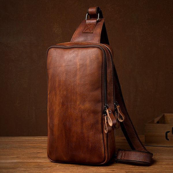 Full Grain Leather Chest Bag Mens Messenger Bag Vintage Leather Chest Pack Handmade Shoulder Bag MSG6079