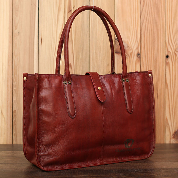 Full Grain Leather Tote Bag Women Shoulder Bag Handmade Women Handbags Work Bag LGXL6605Brown