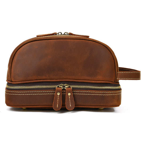 Full Grain Leather Wash Bag Handmade Toiletry Bag Dopp Kit Shaving Kit 8814