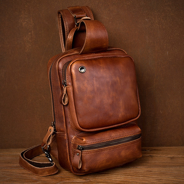 Full Grain Leather Chest Pack Handmade Shoulder Messenger Bag Retro Men Chest Bag MSG6069