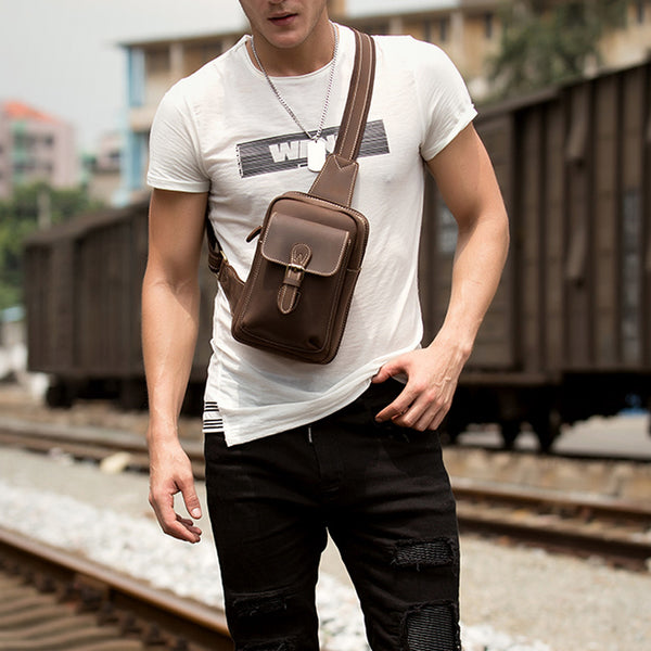 Full Grain Leather Chest Pack Men Retro Chest Bag Casual Shoulder Messenger Bag MSGa029 - ROCKCOWLEATHERSTUDIO