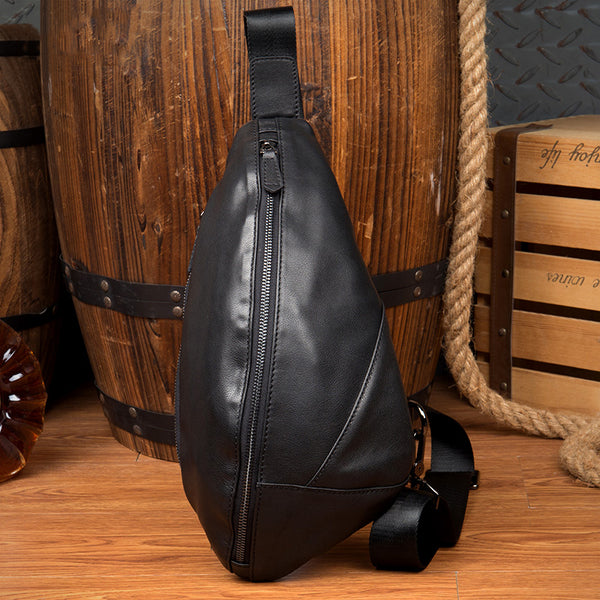 Full Grain Leather Chest Pack Retro Shoulder Messenger Bag Handmade Chest Bag MSG2038 - ROCKCOWLEATHERSTUDIO