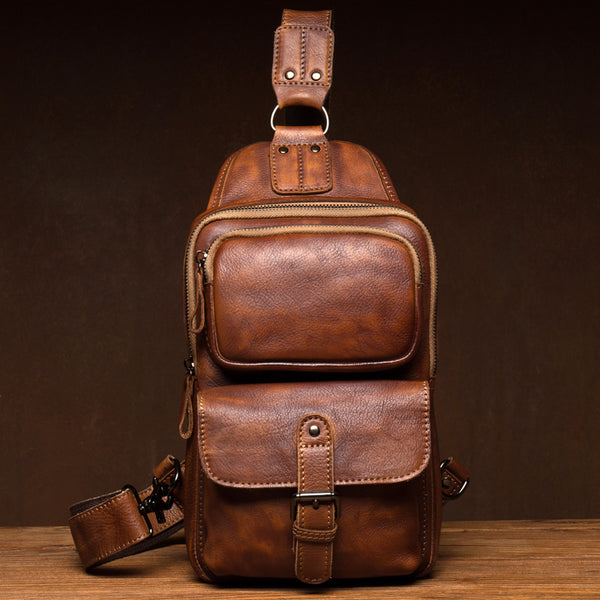 Full Grain Leather Chest Pack Retro Vertical Messenger Bag Shoulder Bag Chest Bag MSG73482 - ROCKCOWLEATHERSTUDIO