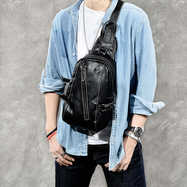 Full Grain Leather Chest Pack Vintage Style Chest Bag Shoulder Messenger Bag ESS2382 - ROCKCOWLEATHERSTUDIO