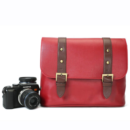 Full Grain Leather DSLR Camera Bag, Vintage SLR Camera Case, Women Handbag 132