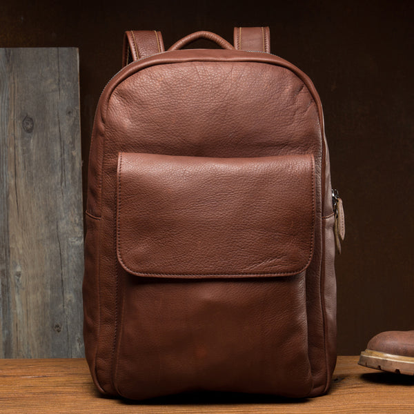 Full Grain Leather Laptop Backpack Men Travel Backpack Leather School Backpack MSG1192 - ROCKCOWLEATHERSTUDIO