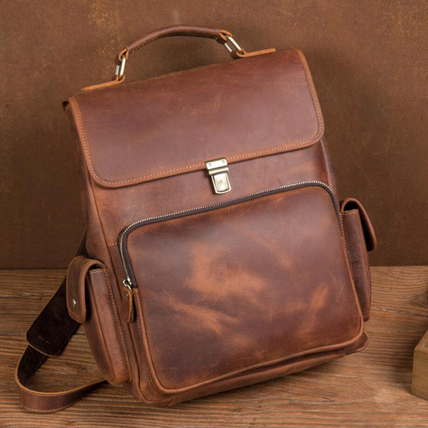 Full Grain Leather Laptop Backpack Unisex Travel Backpack Retro Backpack MSG9752 - ROCKCOWLEATHERSTUDIO