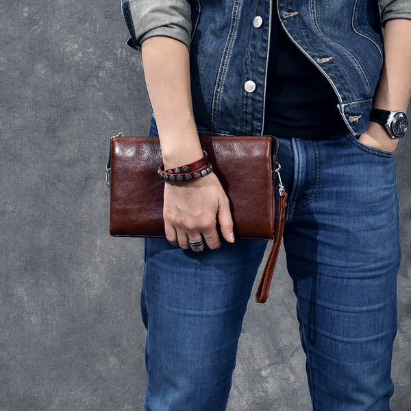 Full Grain Leather Men Clutch Men Wrist Bag Vintage Style Long Clutch ESS2882 - ROCKCOWLEATHERSTUDIO