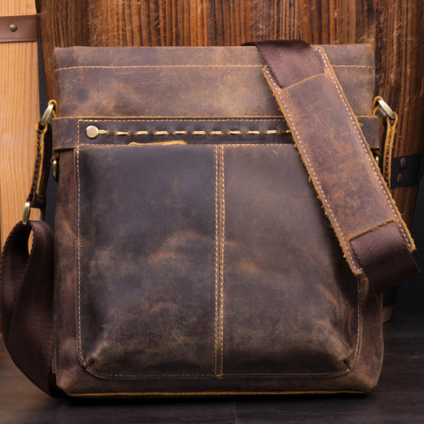 Full Grain Leather Men Shoulder Bag Handmade Messenger Bag Retro Crossbody Bag MSG1161