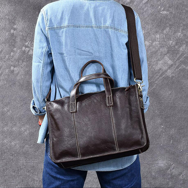 Full Grain Leather Men Tote Bag Handmade Messenger Bag Laptop Shoulder Bag ESS3586