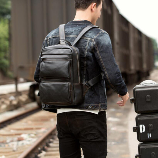 Full Grain Leather Men Travel Backpack Unisex Laptop Backpack Leather School Backpack MSGB264 - ROCKCOWLEATHERSTUDIO