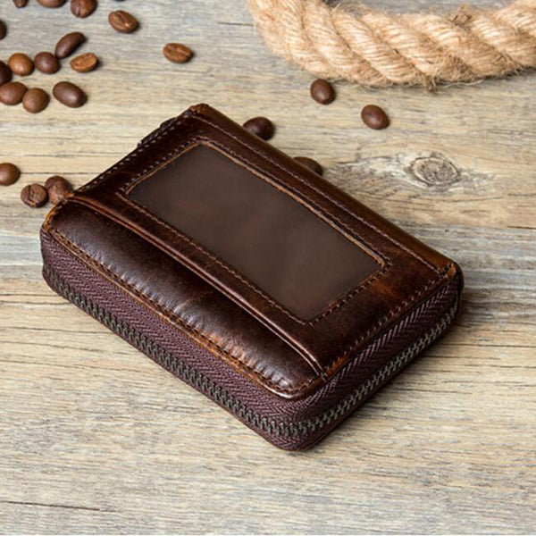 Full Grain Leather Men Wallet Card Holder Wallet Expandable Card Holder Zipper Wallet MSG2123 - ROCKCOWLEATHERSTUDIO