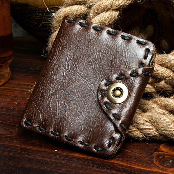 Full Grain Leather Short Wallet Handmade Men Wallet Stylish Short Clutch MSG5844754