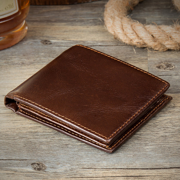 Full Grain Leather Short Wallet Retro Men Leather Wallet Bifold Short Wallet MSG2139 - ROCKCOWLEATHERSTUDIO