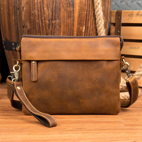 Full Grain Leather Shoulder Bag Men Messenger Bag Handmade Envelope Bag Wrist Bag MSG1780