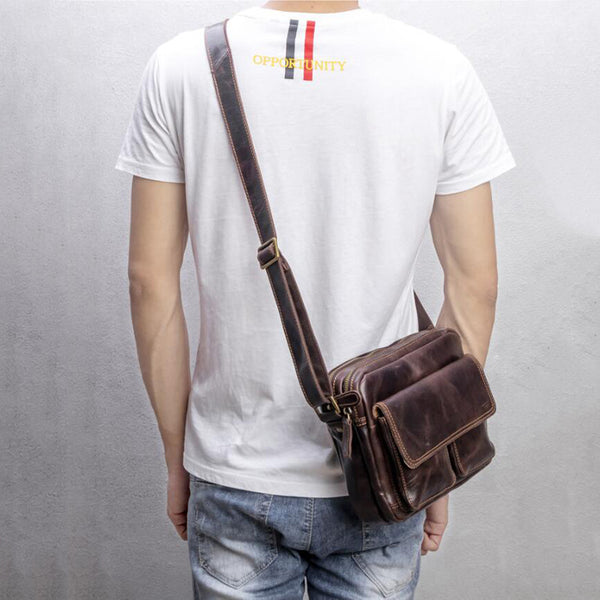 Full Grain Leather Shoulder Bag Retro Men Messenger Bag Casual Satchel MSG5665