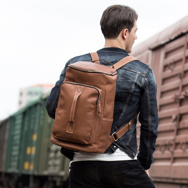 Full Grain Leather Travel Backpack Retro Bucket Backpack Laptop Backpack MSG8861 - ROCKCOWLEATHERSTUDIO