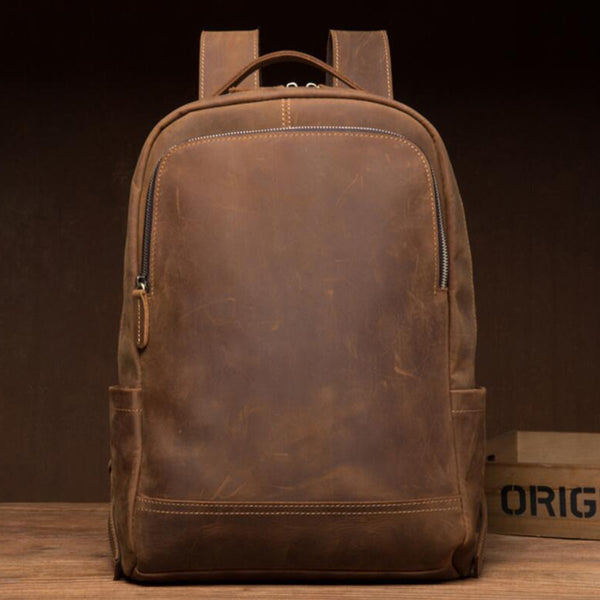 Full Grain Leather Travel Backpack Retro School Backpack Laptop Backpack Men Daily Backpack MSG9298S - ROCKCOWLEATHERSTUDIO