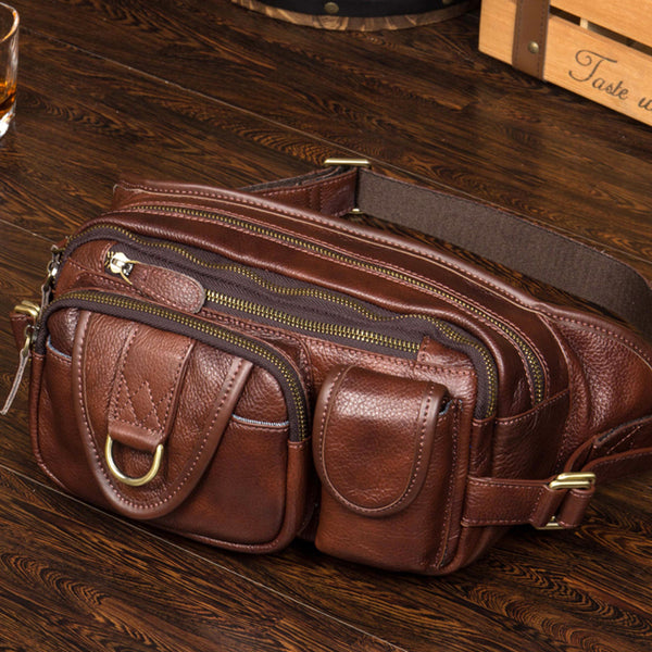 Full Grain Leather Waist Bag Casual Chest Pack Men Shoulder Messenger Bag MSGX197