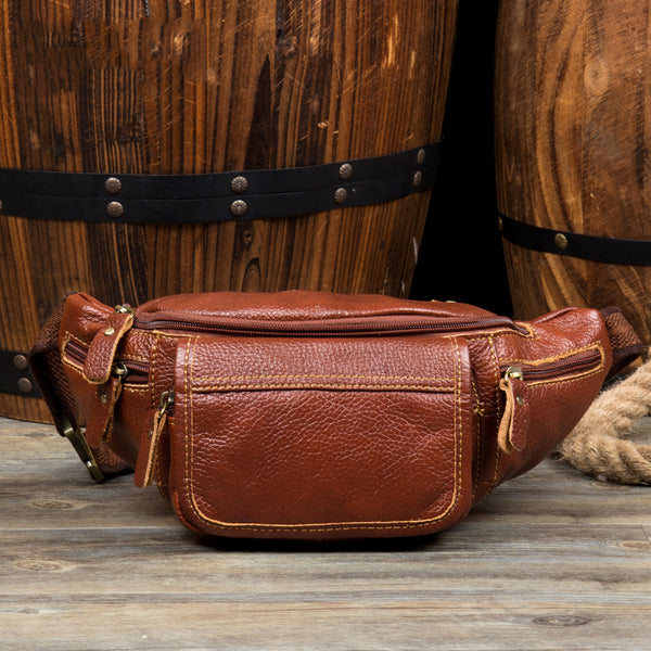 Full Grain Leather Waist Bag Men Shoulder Messenger Bag Stylish Chest Pack MSGX217 - ROCKCOWLEATHERSTUDIO