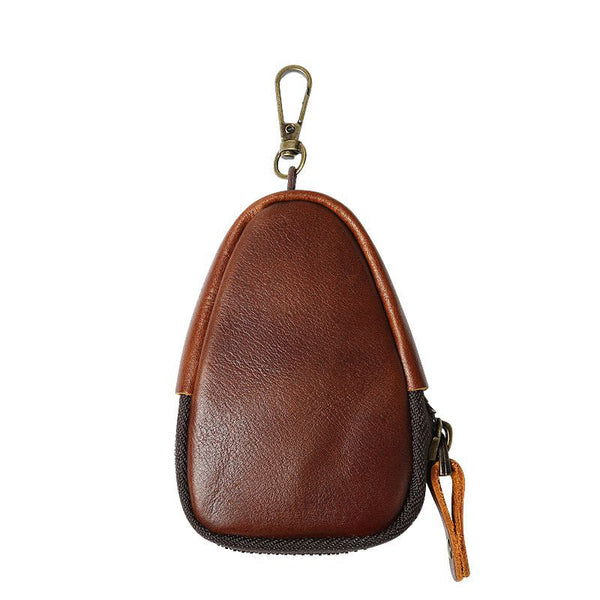Full Grain Leather Wallet Zipper Coin Wallet Multifunction Storage Purse Key Chain Wallet YDT1905 - ROCKCOWLEATHERSTUDIO