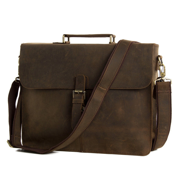 Men's Tote Full Grain Real Leather Shoulder Bag Messenger Bag Laptop Briefcase 6107 - ROCKCOWLEATHERSTUDIO