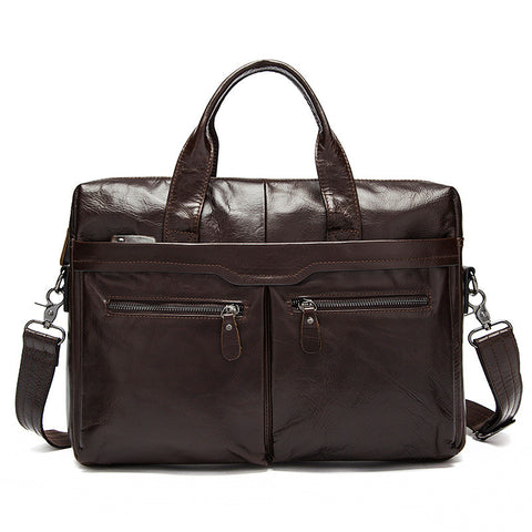Genuine Leather Computer Bag, Top Grain Men's Leather Handbag, Men's Casual Briefcase 9005