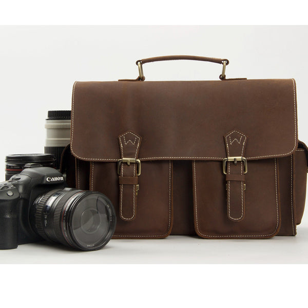 Genuine Leather DSLR Camera Bag, Professional Camera Bag Leather Mesenger Bag 1088 - ROCKCOWLEATHERSTUDIO